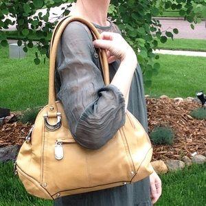 B MAKOWSKY mustard leather shoulder bag satchel